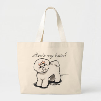 Bichon Frise Hows My Hair Large Tote Bag