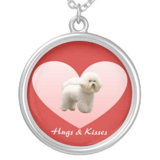 Bichon Frise Hugs and Kisses Heart Necklace