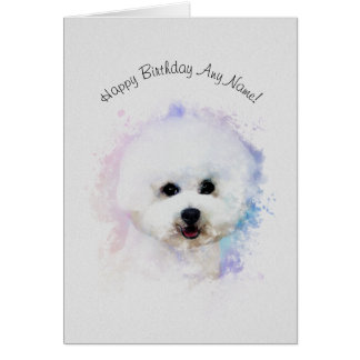 Bichon Frise Illustrated Birthday Card