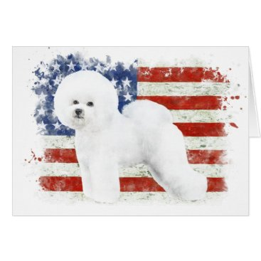 USA Themed Bichon Frise Illustrated Greeting Card