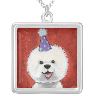 Bichon Frise in a Party Hat | Dog Art Pendant