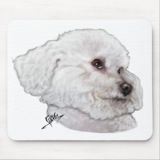 Bichon Frise in Deep Thought Mouse Pads