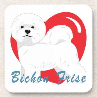 Bichon Frise Love Heart Coaster