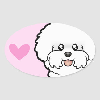 Bichon Frise Love Oval Sticker