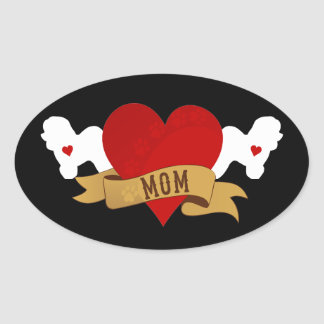 Bichon Frise Mom [Tattoo style] Oval Sticker