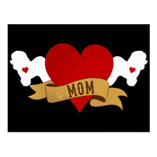 Bichon Frise Mom [Tattoo style] Postcard