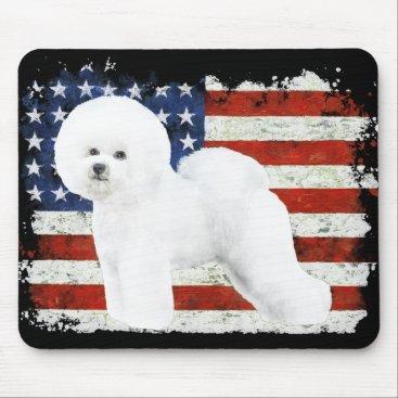 USA Themed Bichon Frise Mousepad