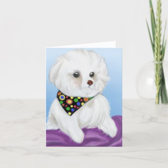 Bichon Frise Note Card With Envelope