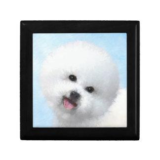 Bichon Frise Painting - Cute Original Dog Art Keepsake Box