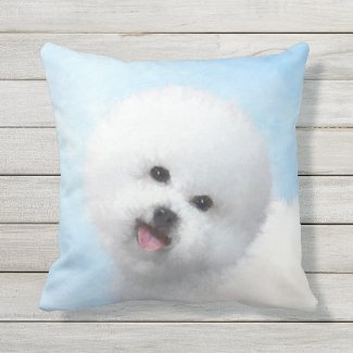 Bichon Frise Painting - Cute Original Dog Art Outdoor Pillow