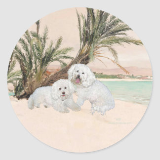 Bichon Frise Palmy Beach Classic Round Sticker