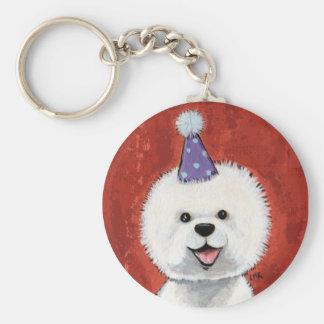 Bichon Frise Party Dog Keychain