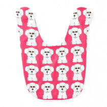 Bichon Frise Pink Baby Bib