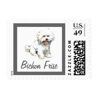 Bichon Frise playful puppy postage stamp