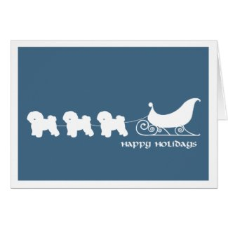 Bichon Frise Pulling Santa's Sleigh Greeting Card