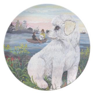 Bichon Frise Puppy Dreamer Dinner Plate