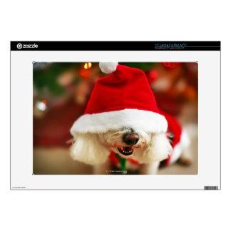 Bichon Frise puppy wearing Santa costume Laptop Skin