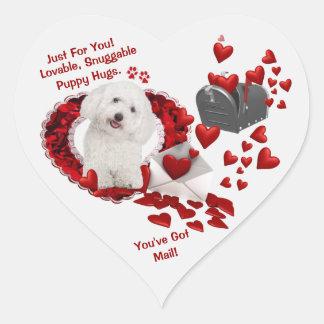 Bichon Frise Puppy You've Got Mail! Second Version Heart Sticker