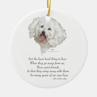 Bichon Frise Rainbow Bridge Ceramic Ornament