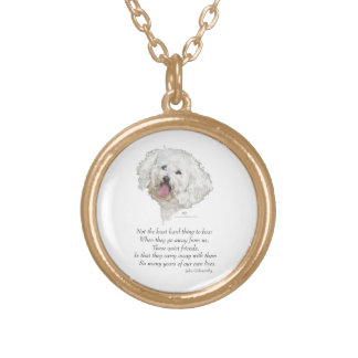 Bichon Frise Rainbow Bridge Gold Plated Necklace