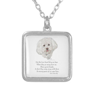 Bichon Frise Rainbow Bridge Silver Plated Necklace