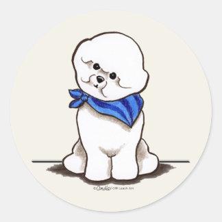 Bichon Frise Sailor Boy Blue Classic Round Sticker