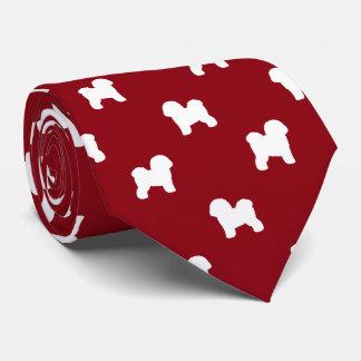 Bichon Frise Silhouettes Pattern Red Neck Tie