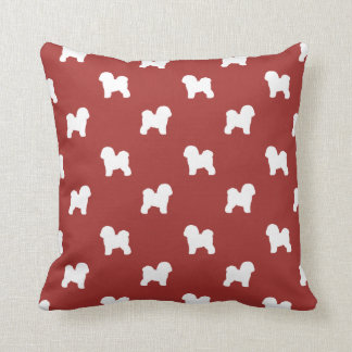 Bichon Frise Silhouettes Pattern Red Throw Pillow