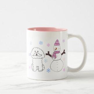 Bichon Frise & Snowman Two-Tone Coffee Mug
