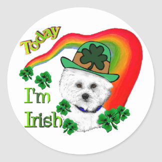 Bichon Frise St. Patrick's Day Classic Round Sticker
