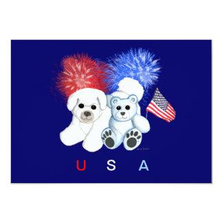 Bichon Frise & Teddy USA Invitation
