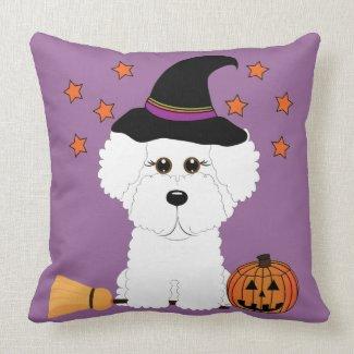 Bichon Frise Witch Halloween Throw Pillow