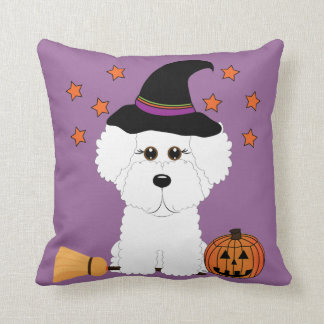 Bichon Frise Witch Halloween Throw Pillow