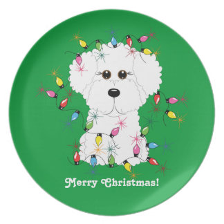 Bichon Frise with Christmas Lights Festive Plate