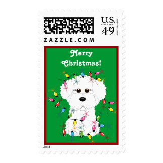 Bichon Frise with Christmas Lights Postage Stamps
