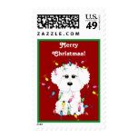 Bichon Frise with Christmas Lights Stamps