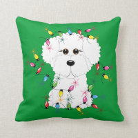 Bichon Frise with Christmas Lights Throw Pillow