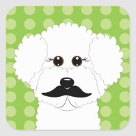 Bichon Frise with Mustache Sticker