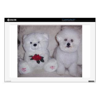 "Bichon frise with white teddy bear. 17"" laptop skins"