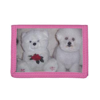 Bichon frise with white teddy bear. tri-fold wallet
