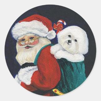 Bichon Frise y pegatina del arte de Papá Noel