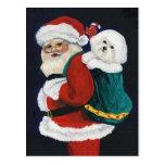 Bichon Frise y postal del navidad del arte de Sant