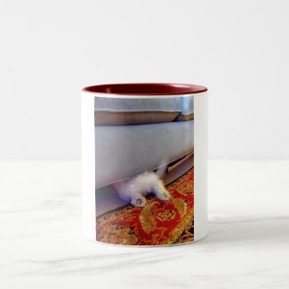 Bichon Pup Couch Dive Two-Tone Coffee Mug