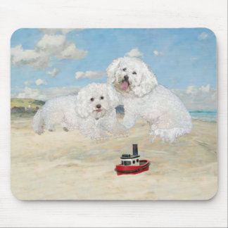 Bichons at the Beach Mouse Pad
