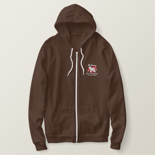 Bichons Leave Paw Prints Embroidered Hoodie