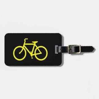 Bici amarilla etiqueta de equipaje