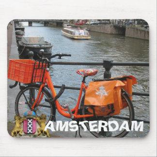 Bici anaranjada Amsterdam Holanda Mousepad Tapete De Raton