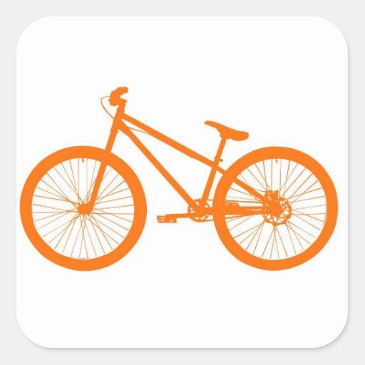 Bici anaranjada calcomanía cuadradas