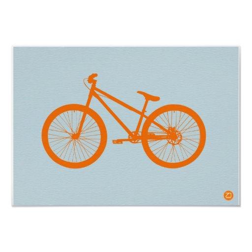 "Bici anaranjada invitación 3.5"" x 5"""