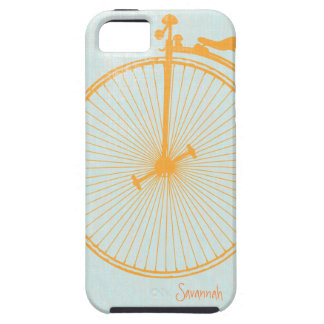 Bici anaranjada Iphone de lino 5 de la aguamarina  iPhone 5 Case-Mate Fundas
